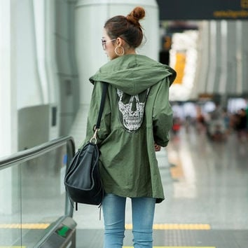 Women  Embroidery Skull Jacket Autumn and Winter Coat  with Hooded Green Color Free Size (Color: Green) = 1667675076