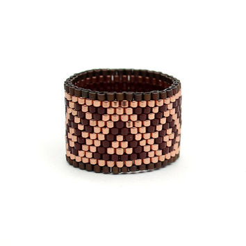 Wide peyote ring Beaded ring Seed bead jewelry Boho jewellery Beaded jewelry Women's ring Brown copper ring Beadwork ring Wide boho ring