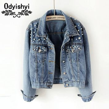 Autumn Korean Wild Beaded Loose Long Sleeve Denim Jacket Women Jackets Tops Jeans Student Short Cotton Denim Coat Female HS416
