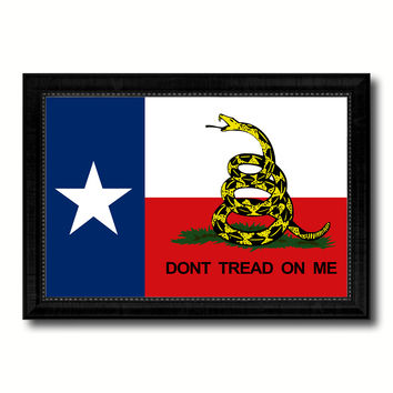 Gadsden Don't Tread On Me Texas State Military Flag Canvas Print Black Picture Frame Gifts Home Decor Wall Art