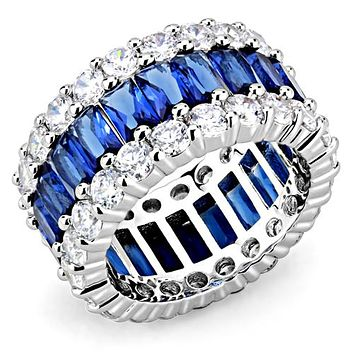 Wide Sapphire & Clear Cz Eternity Wedding Band