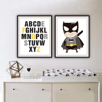 Batman Dark Knight gift Christmas Cartoon Batman Canvas Art Prints Super Hero Alphabet ABC Poster Painting on Canvas Nursery POP Wall Picture Kids Room Home Decor AT_71_6
