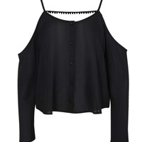 Silvie Cut Shoulder Pom Pom Button Through Blouse