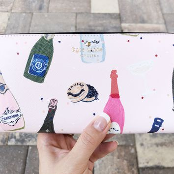 Kate Spade Champagne Print Pink Multi Lacey Zip around Wallet