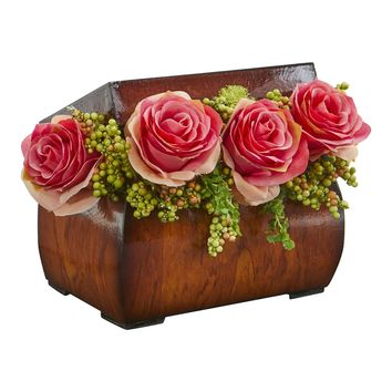 Artificial Flowers -Roses Dark Pink Arrangement in Decorative Chest