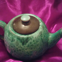Vintage Evangeline Pottery Canada Drip Green Glaze Teapot with Lid
