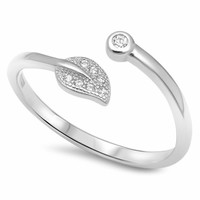 .925 Sterling Silver Leaf Wrap Ladies Fashion CZ Ring Size 4-10