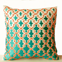 Throw Pillows -Teal Orange Decorative Pillowcase in Thread Beads Sashiko Embroidery -Ivory Couch Cushion -18x18 -Gift -Wedding -Anniversary