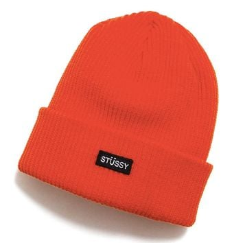 Small Patch Watch Cap Beanie Orange