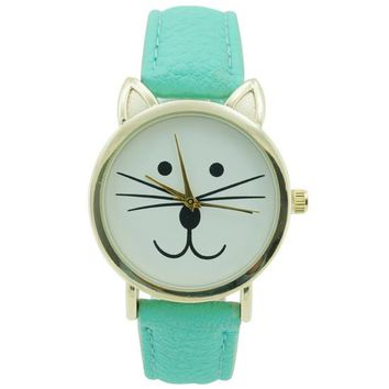 Ladies Cat Leather Watch 35mm Mint