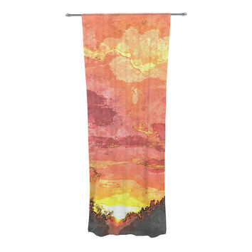 "Oriana Cordero ""Horizon"" Orange Sky Decorative Sheer Curtain"
