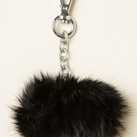 BLACK FUR BALL KEYCHAIN