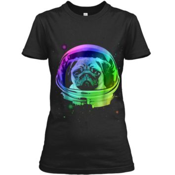 Pug Astronaut In Space T-shirt Ladies Custom