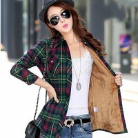 Hot New Women's Winter Blouses Casual Long Sleeve Plaid Flannel Shirt Flannel Tops Blusa Femininas M L XL XXL Winter Blouse