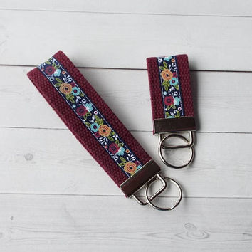 floral Key FOB / KeyChain / Wristlet  - flower key chain - bridesmaid - friend gift - coworker - finger fob maroon
