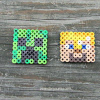 Minecraft Magnets, Perler Bead Magnets, Creeper Magnet, Steve Magnet