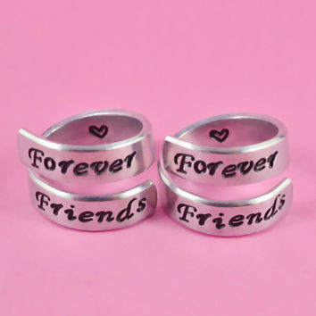 Forever Friends- Spiral Rings Set, Hand Stamped, Friendship, BFF Gift, Script Font Version