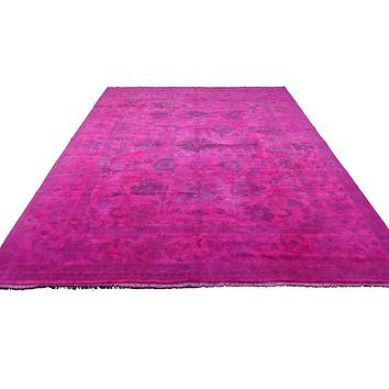 9x12 Ushak Overdyed Hot pink 100% Wool Oushak Rug 2937