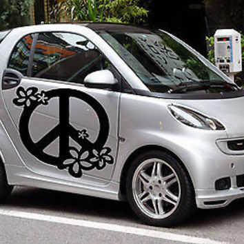 Flower with Peace Sign Hippie flower child Joy Car vinyl graphics Sticker tr095