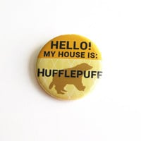Harry Potter Buttons Geeky Accessory Hufflepuff Large Pinback Buttons Hogwarts House Yellow Plaid Pattern Apparel Accessories