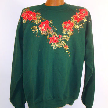 Ugly Christmas Sweater Vintage Sweatshirt Ho Made Puffy Paint Poinsettias Tacky Holiday
