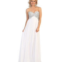 White Strapless Sequin Sweetheart Dress 2015 Prom Dresses