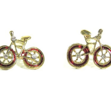 Bicycle Earrings Cyclist Bike Red EA31 Fixie Velo Antique Crystal Mod Vintage Post Studs Fashion Jewelry