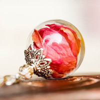 Rose Petals Real Flower Necklace, Jewelry Glass Globe Pendant, Birthday Gift, Real Dried Flowers, Vial ball real flowers, Mother's Day