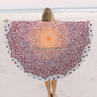 Ombre Round Roundie Yoga Mat Indian Mandala Beach Throw Tapestry Hippy Boho Gypsy Cotton Table Cover Beach Towel , Beach Towel Throw , Round Yoga Mat