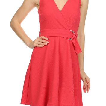 Casual Solid Color V Neck Pleated A-Line Belted Waist Flare Bottom Mini Dress