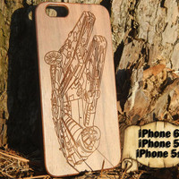 Millennium Falcon, Star Wars, Engraved iPhone 6 5 5s Wood Case, Made from Genuine Walnut or Cherry