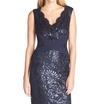 Women's Tadashi Shoji Sequin Embroidered V-Neck Sheath,