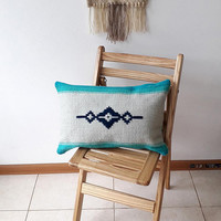 Turquoise handmade decorative pillow cover, kilim handwoven wool pillow cover, boho pillow case for your home decor by Rugs N' Bags