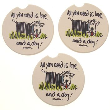 All You Need Is Love and a Dog Stone Car Coasters Set 3 CounterArt Absorbent