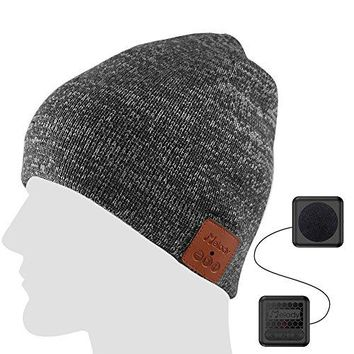 Bluetooth Beanie Music Hat ,Coeuspow 4.1 Wireless Smart Beanie Headset Music Cap with HD Stereo Speaker ,Built-in Mic , 100% soft acrylic,Hand Free for Running Skiing Skating - Grey