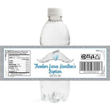 Boy Heaven Sent Baptism Water Bottle Labels