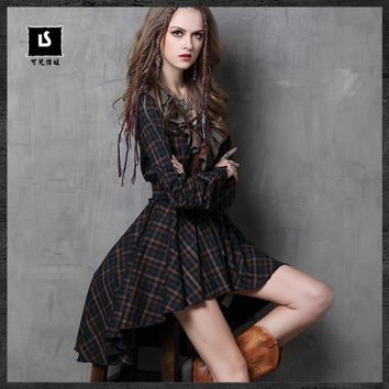 The 2017 Women's Fashion Flounced Vintage Plaid Vintage Party Dress Vestidos Mujer African Women Clothes