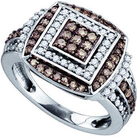 Cognac Diamond Ladies Fashion Ring in 10k White Gold 1 ctw