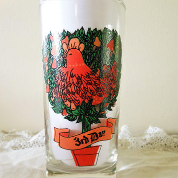 Indiana Glass Company 12 Days of Christmas Replacement Glass, American Glass 3 French Hens 12 Days of Christmas 3rd Day Replacement Glass