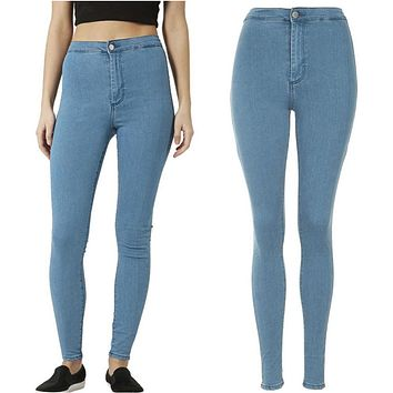 Fashion Women High Waist Skinny Slim Denim Jeans Trouser Long Pencil Pants Stretchy