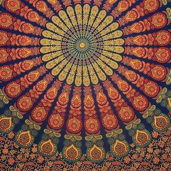 Handmade Sanganer Peacock Mandala Tapestry 100% Cotton Tablecloth Bedspread Twin