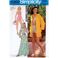 70s Simplicity 6969 Bikini Bathing Suit Hooded Robe Beach Cover Sewing Pattern