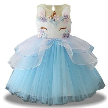 Unicorn Party Dress For Girls Christmas Dress Children Carnival Costume For Kids Girls Princess Dress Flower Girls Wedding Dress