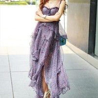 Romantic Purple floral Irregular Strap dress  from Hoily