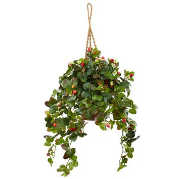 Artificial Plant -Strawberry Bush with Hanging Basket