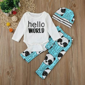 "3 Pc Baby Boy's ""Hello World"" Long Sleeve Onesuit with Panda Print Pants and Hat"