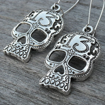 Lucky 13 Silver Skull Earrings, Day of the Dead, Punk Rock, Rock n Roll, Heavy Metal, Gothic Earrings, Gothic Jewelry,