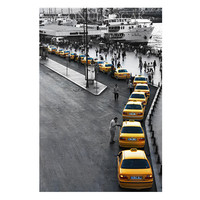 Taxi photography, istanbul photography, street photography, Yellow photograph,  Home decor, Wall decor, photography, colour, 10''x 15 ''inch