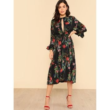 Cut Out Front Tie Waist Layered Ruffle Sleeve Floral Dress
