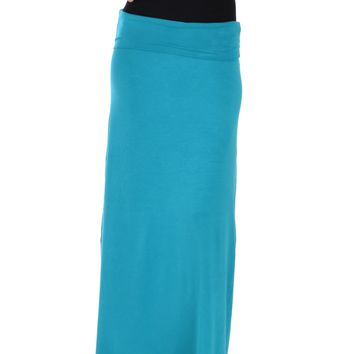 Lyss Loo Casablanca Fold Over Teal Maxi Skirt